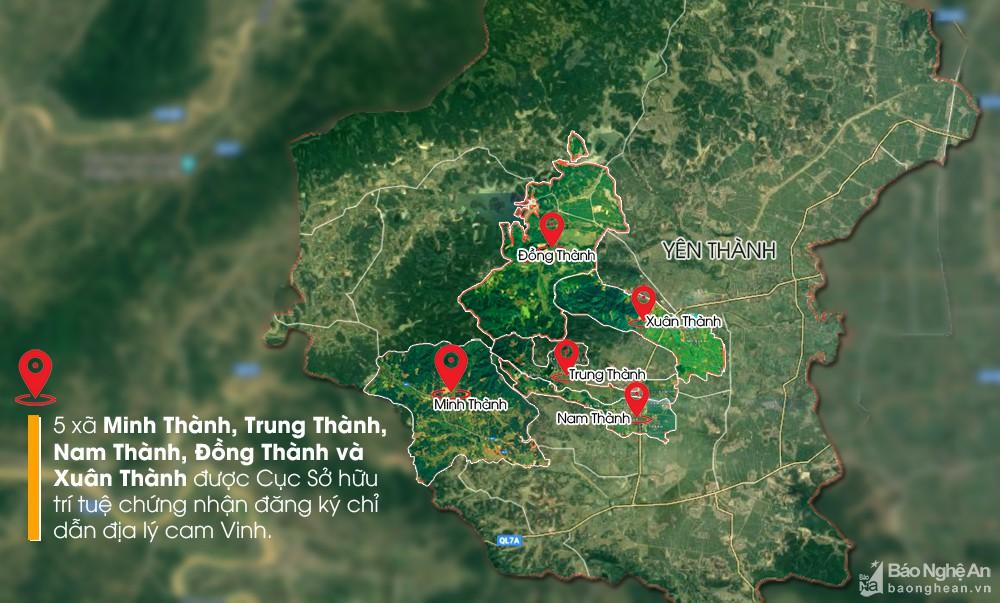 5 xã được chứng nhận đăng ký chỉ dẫn địa lý cam Vinh